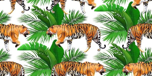 Papier peint tropical avec des tigres et des feuilles