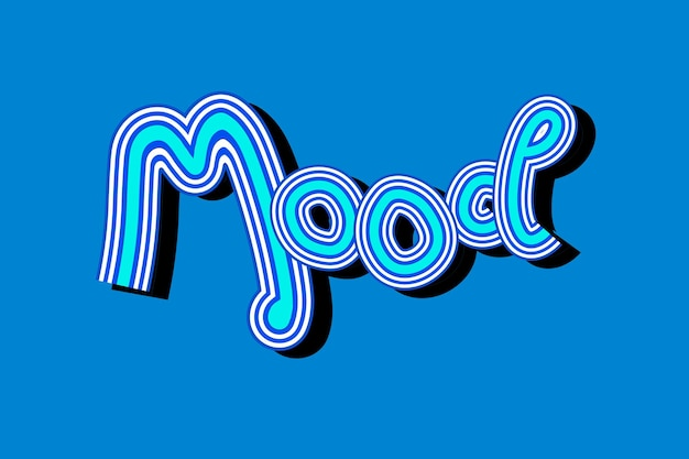 Papier peint typographie rétro blue mood