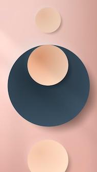 Papier rond coloré coupé avec ombre portée sur fond d'écran de téléphone portable rose pâle