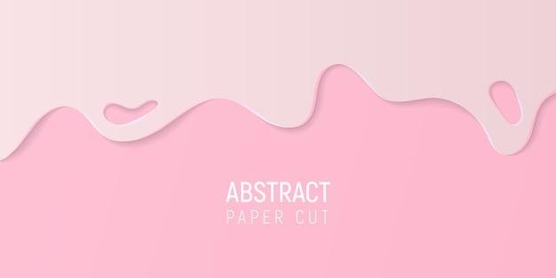 Papier rose abstrait coupé de fond. bannière avec du papier rose vif coupé des vagues.