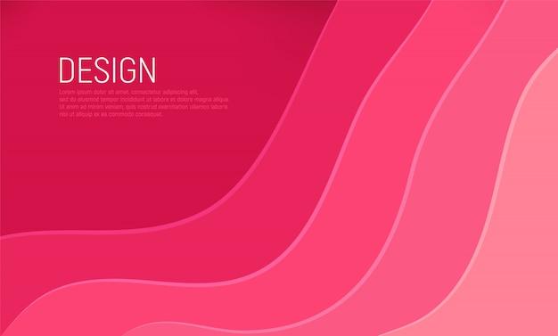 Papier rose coupé avec fond abstrait 3d slime et couches d'ondes roses