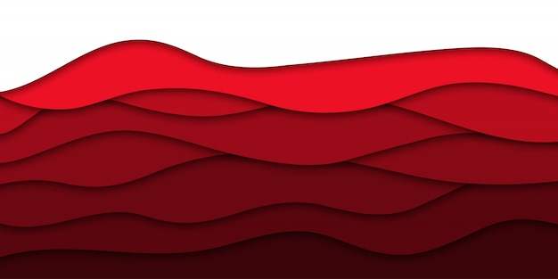 Papier rouge réaliste coupé fond de couche pour la décoration et la couverture. concept d'abstrait géométrique.