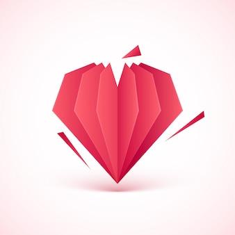 Papier de saint valentin créatif coeur coupé sur rose dégradé