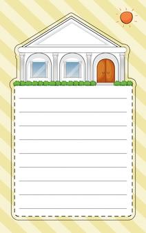 Un papier spécial avec une maison et un soleil