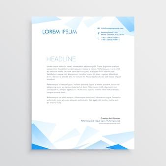 Papier à en-tête abstrait affaires bleu