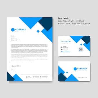 Papier à en-tête créatif professionnel et modèle de carte de visite
