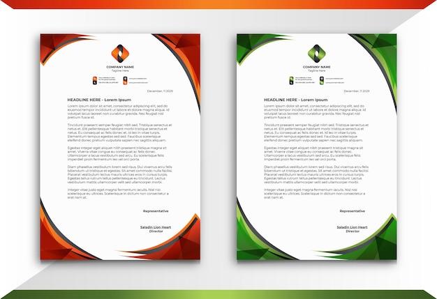 Papier à en-tête dans un style abstrait orange et vert