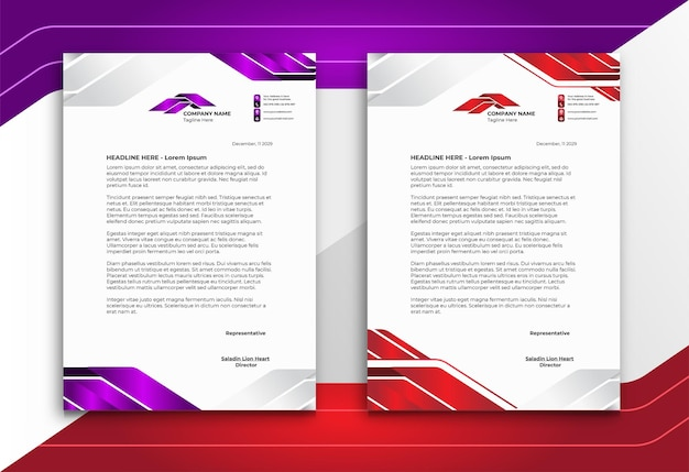 Papier à en-tête dans un style moderne abstrait violet et rouge