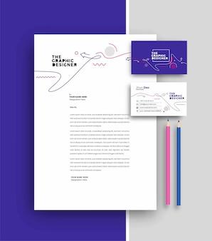 Papier à en-tête d'entreprise avec conception de modèles de carte de visite, illustration vectorielle.
