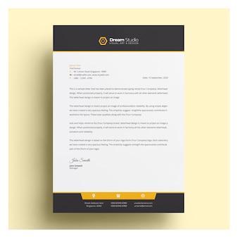 Papier à en-tête d'entreprise moderne avec des détails orange