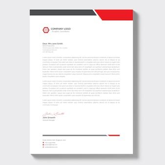 Papier à en-tête d'entreprise moderne avec des détails rouges