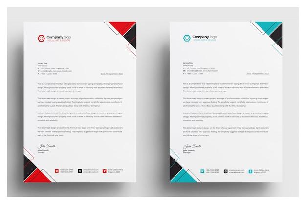 Papier à en-tête d'entreprise moderne avec différentes couleurs