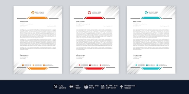 Papier à En-tête D'entreprise Moderne Vecteur gratuit