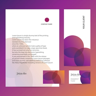 Papier à en-tête, enveloppe et carte de visite au design tendance