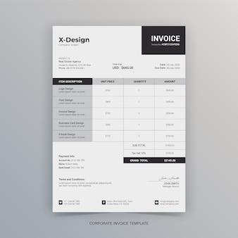 Papier à en-tête de facture d'entreprise minimaliste simple