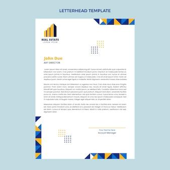 Papier à en-tête immobilier géométrique design plat