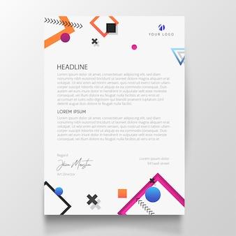 Papier à en-tête moderne avec éléments de design memphis