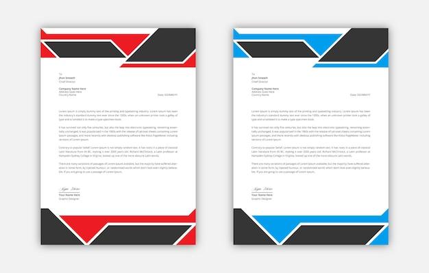 Papier à en-tête moderne noir rouge et bleu élégant professionnel vecteur premium
