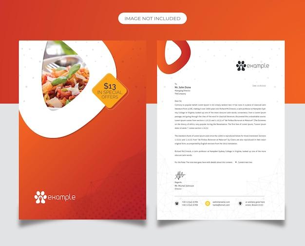 Papier à en-tête de restaurant d'aliments sains