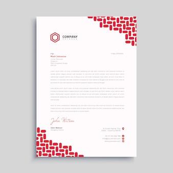 Papier à en-tête simple rouge premium