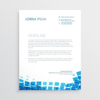 Papier à en-tête de style mosaïque bleu
