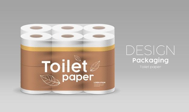 Papier toilette en rouleau en plastique un paquet de douze rouleaux, feuilles et design marron sur fond gris, illustration
