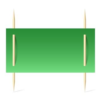 Papier vert sur cure-dents