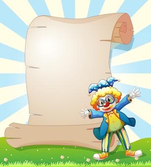 Un papier vide à l'arrière d'un clown