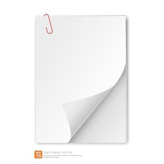 Papier vide avec clip