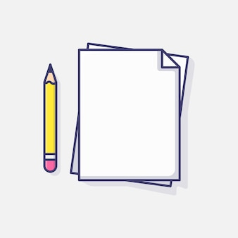 Papier Vierge Et Crayon Vector Illustration Icône, Document D'accord De Données Icône Blanche Vecteur Idée Graphique Vecteur Premium