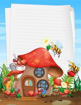 Papier vierge dans le jardin avec ensemble de jardin animalier
