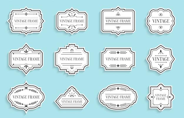 Papier vintage étiquettes rétro découpé serti d'ombre. modèle de texte de cadre autocollant de paquet. bannière de bordure de forme différente, badges de menu
