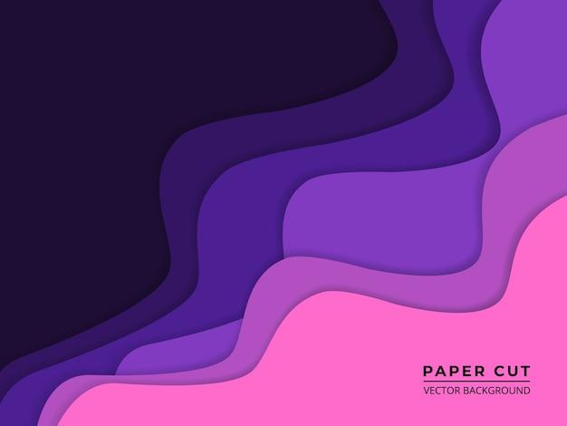 Papier violet coupé fond abstrait avec des couches de papier ondulé violet et rose.