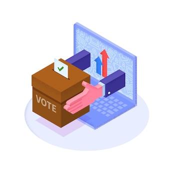 Papier de vote isométrique 3d plat dans une urne qui sort du moniteur d'ordinateur portable