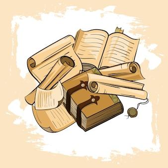 Papiers anciens, livres, rouleaux de parchemin.