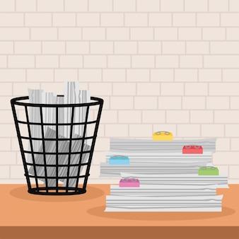 Papiers et poubelle