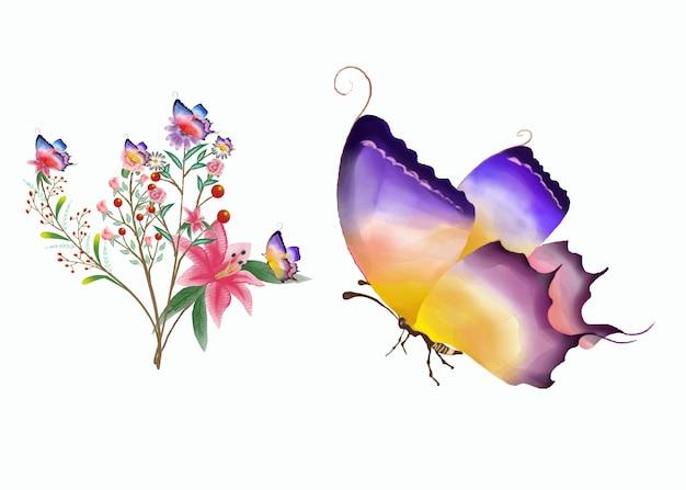 Papillon aquarelle dessiné à la main colorul