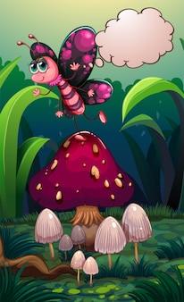 Un papillon au-dessus d'un champignon avec une légende vide