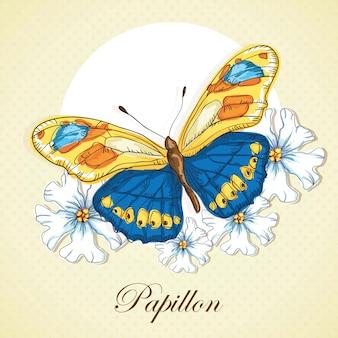 Papillon bleu et jaune sur fond vintage fleurs de pentecôte