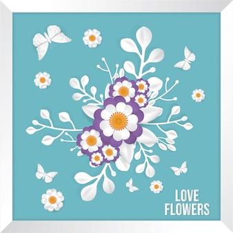 Papillon et bouquet de fleurs, style art papier.