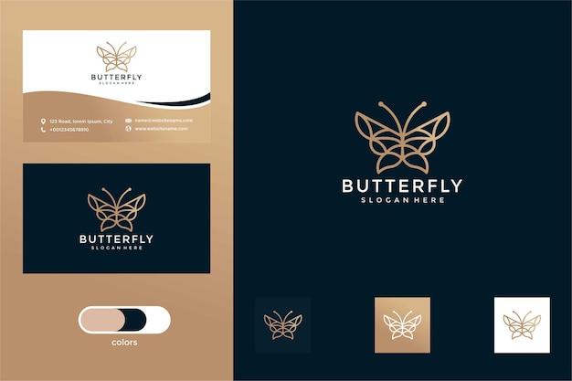 Papillon avec carte de visite de conception de logo de style de ligne