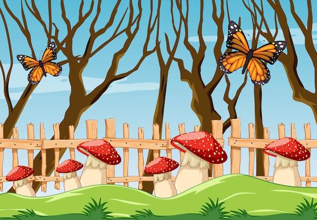 Papillon champignon fantastique dans le style de dessin animé de jardin sence