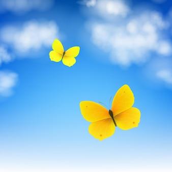 Papillon et ciel avec illustration de filet de dégradé
