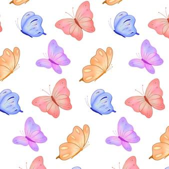 Papillon coloré dessiné à la main avec motif aquarelle