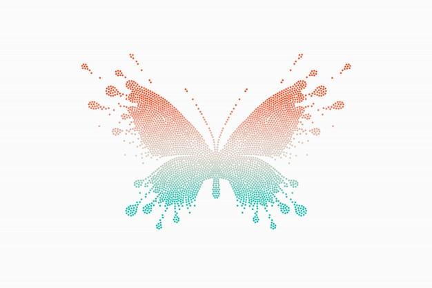 Papillon coloré rouge turquoise