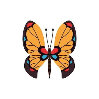 Papillon de couleur exotique. ailes ou insecte de papillon dessinés à la main. animal tropical de dessin animé. vecteur isolé