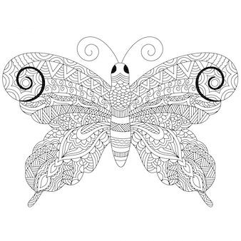 Papillon créatif de style zentangle avec des ornements floraux ethniques, croquis à main levée en noir et blanc en style doodle. illustration dessinée à la main.