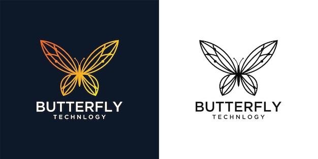 Papillon avec création de logo de réseau technologique