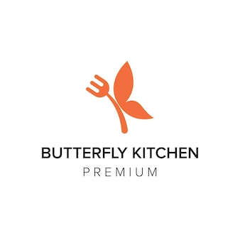 Papillon cuisine logo icône vecteur modèle