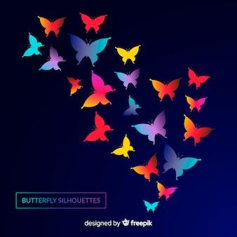 Papillon dégradé essaim silhouette fond